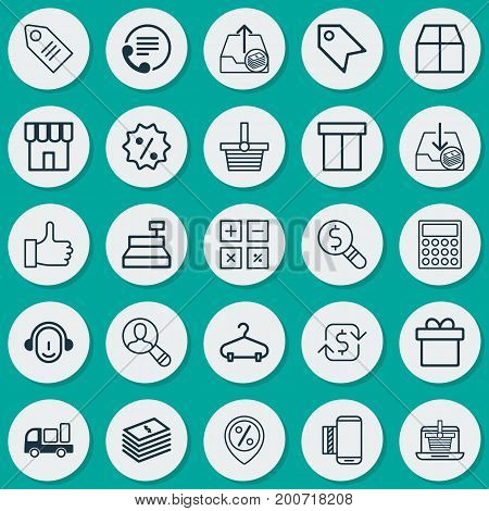 E-Commerce Icons Set. Collection Of Mobile Service, Dollar Banknote, Calculator And Other Elements