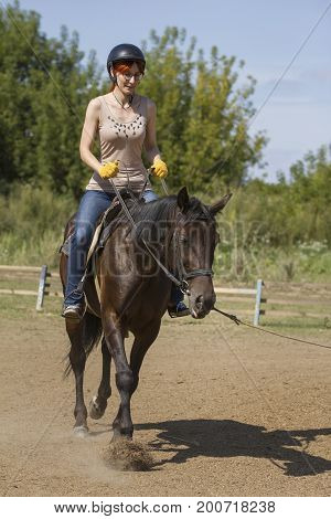 Horseback riding lessons - young woman riding a horse, vertical shot