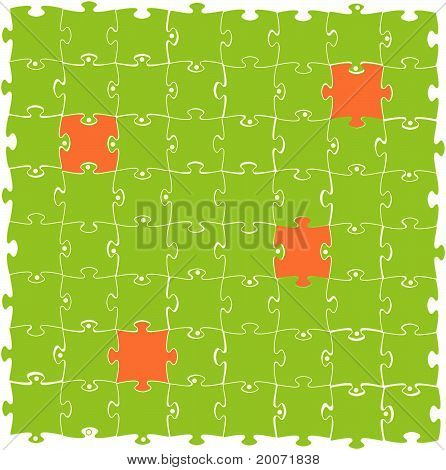 Meeting of green and orange puzzles