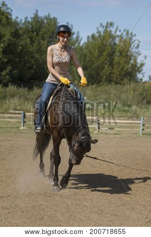Women is horse riding - red hair girl in summer meadow, vertical shot