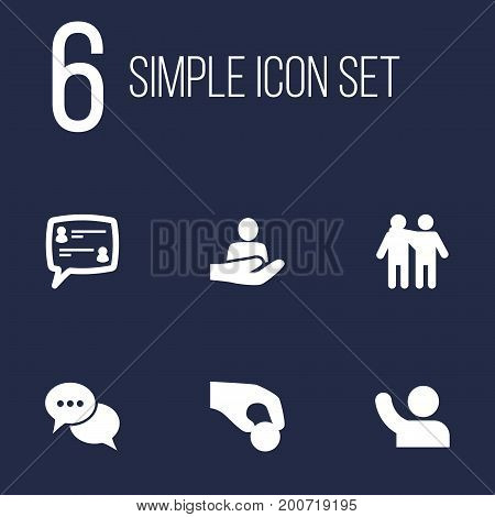 Collection Of Talk, Undertake, Human And Other Elements.  Set Of 6 Maintenance Icons Set.