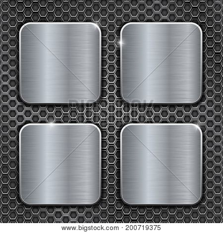 Metal brushed square buttons on perforated background. Vector 3d illustration
