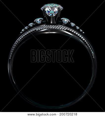 Black gold engagement ring with diamond gem. Luxury jewellery bijouterie with rhodium or ruthenium coating with gemstone. Bottom of ring in shade. 3D rendering. Family ring.