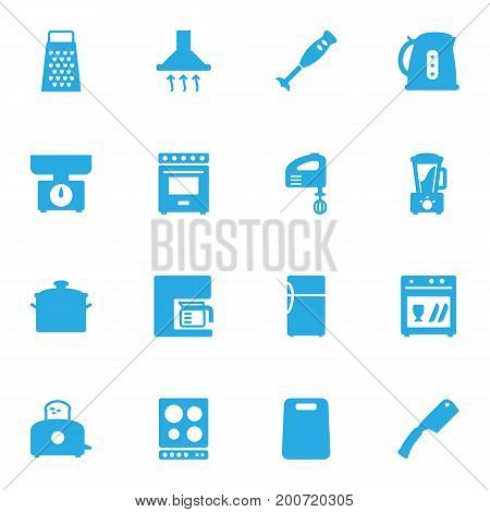 Collection Of Slicer, Bread Heater, Washing Machine And Other Elements.  Set Of 16 Kitchen Icons Set.