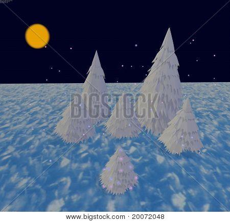 White Fur-trees With Snowflakes