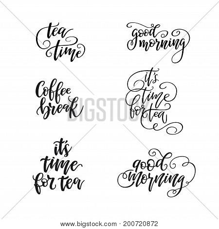 Tea shop lettering collection. Motivational typography made in vector Calligraphy hand written phrases about tea.