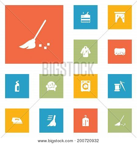 Collection Of Detergent, Dry, Cleaning And Other Elements.  Set Of 12 Cleaning Icons Set.