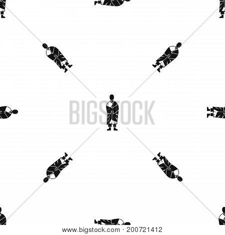 Buddhist monk pattern repeat seamless in black color for any design. Vector geometric illustration
