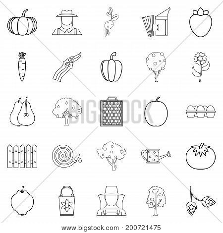 Sector icons set. Outline set of 25 sector vector icons for web isolated on white background