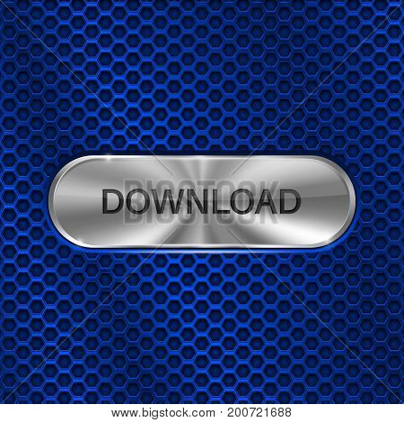 Download button. Metal oval button on blue perforated background. Vector 3d illustration