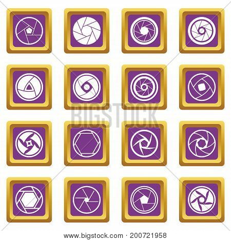 Photo diaphragm set. Simple illustration of 16 photo diaphragm vector icons set in purple color isolated vector illustration for web and any design