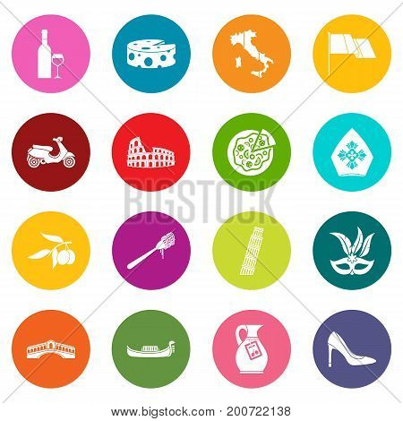 Russia icons many colors set isolated on white for digital marketing