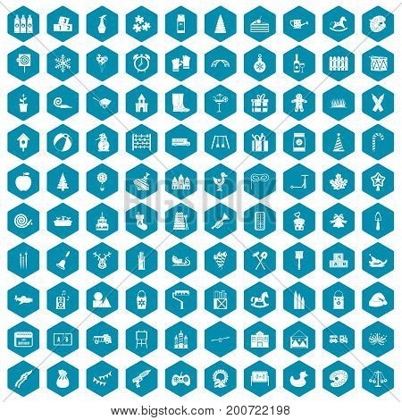 100 preschool education icons set in sapphirine hexagon isolated vector illustration