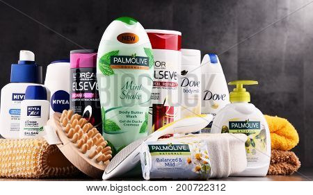 Composition With Containers Of Global Cosmetics Brands