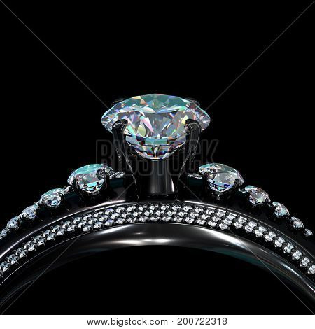 Black gold engagement ring with diamond gem. Luxury jewellery bijouterie with rhodium or ruthenium coating with gemstone of brilliant turquoise hue. Family ring. 3D rendering.