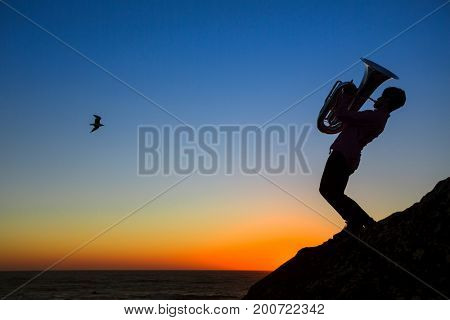Silhouette of musician play Tuba on sea shore at amazing sunset.