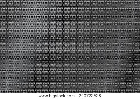 Dark metal perforated background with square holes. Abstract industrial surface. Vector 3d illustration