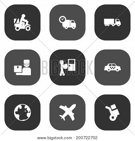 Collection Of Courier, World, Van And Other Elements.  Set Of 9 Delivery Icons Set.