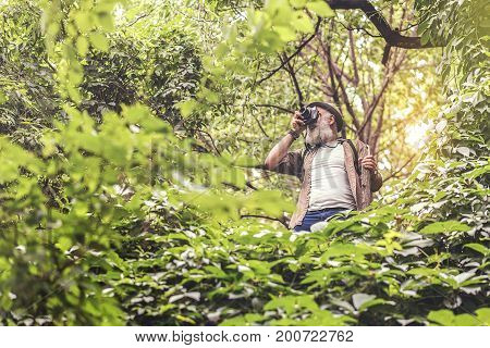Low angle of joyful senior male tourist taking photo of wild nature. He is standing with wooden stick and smiling