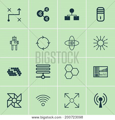 Learning Icons Set. Collection Of Analysis Diagram, Recurring Program, Mainframe And Other Elements