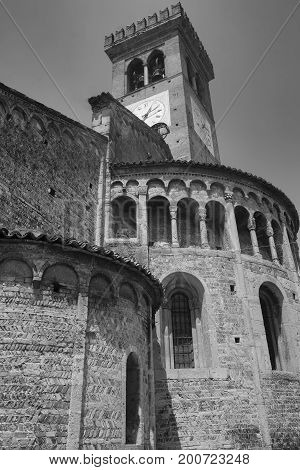 Rivolta d'Adda (Cremona Lombardy Italy): exterior of San Sigismondo church built from 11th century. Black and white
