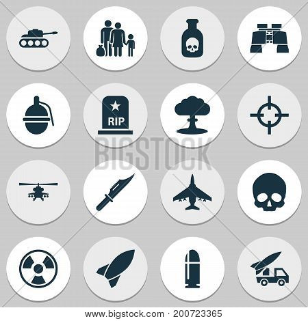 Warfare Icons Set. Collection Of Cranium, Aircraft, Slug And Other Elements