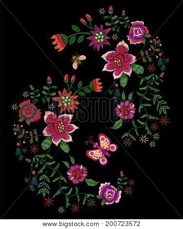 Embroidery folk pattern with fantasy simplify flowers, bee and butterfly. Vector embroidered floral patch for clothing design.