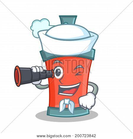 Sailor aerosol spray can character cartoon with binocular vector art