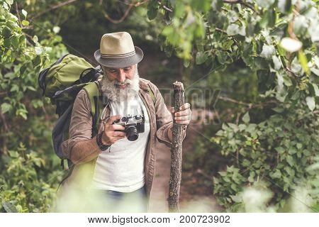 Portrait of happy senior man looking at interesting photos in his camera. He is standing in wild woodland and smiling. Copy space
