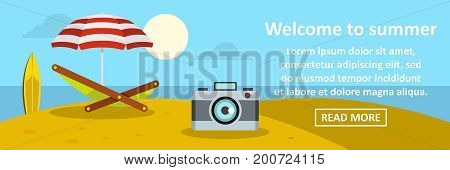 Welcome to summer banner horizontal concept. Flat illustration of welcome to summer banner horizontal vector concept for web