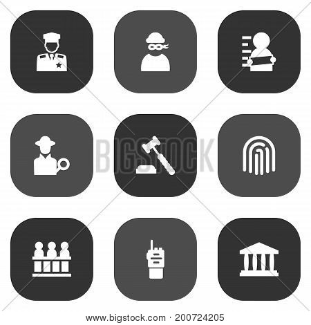 Collection Of Judge Gavel, Inspector, Thumbprint And Other Elements.  Set Of 9 Criminal Icons Set.