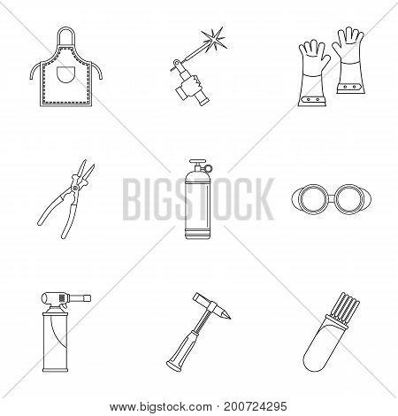 Welder construction icon set. Outline set of 9 welder construction vector icons for web isolated on white background