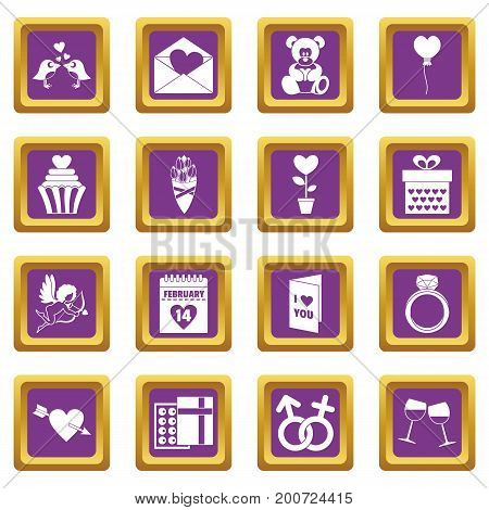 Saint Valentine icoins set. Simple illustration of 16 Saint Valentine vector icons set in purple color isolated vector illustration for web and any design