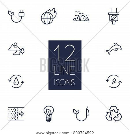 Collection Of Air, Fuel, Dolphin And Other Elements.  Set Of 12 Bio Outline Icons Set.