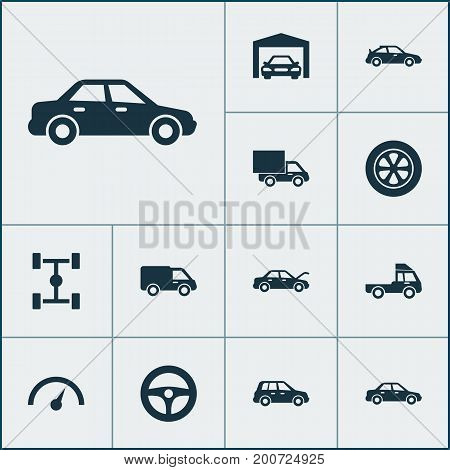 Car Icons Set. Collection Of Chronometer, Truck, Van And Other Elements