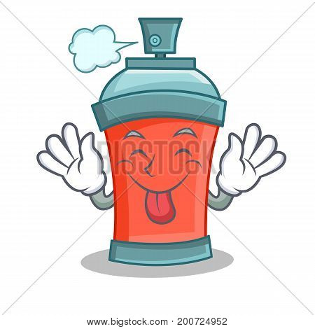 Tongue out aerosol spray can character cartoon vector illustration