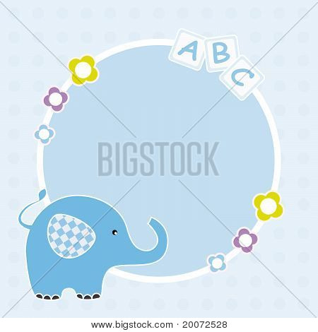 Picture frame or text. Blue elephant