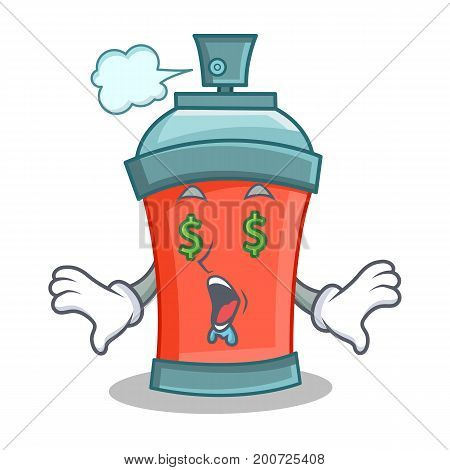 Money eye aerosol spray can character cartoon vector illustration