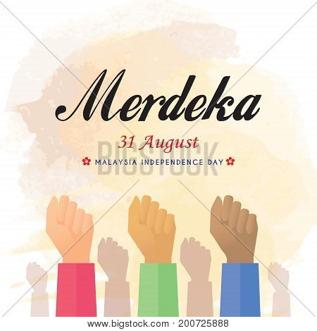 31 August - Malaysia Independence Day illustration. Merdeka means independent or free.