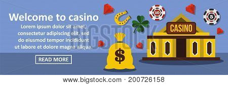 Welcome to casino banner horizontal concept. Flat illustration of welcome to casino banner horizontal vector concept for web