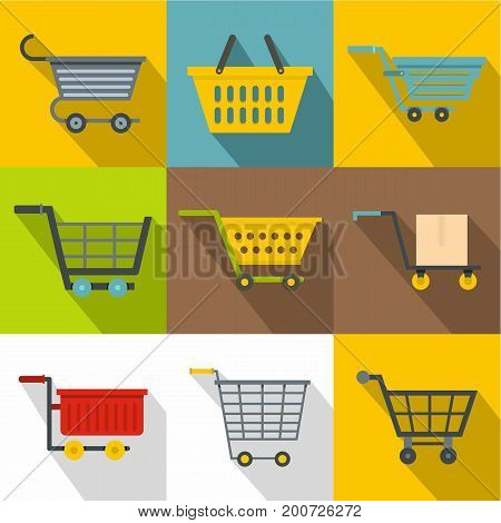Shopping cart icons set. Flatset of 9 shopping cart vector icons for web with long shadow