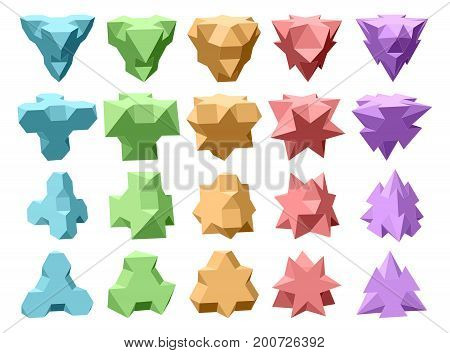 Set Of Vector Complex Geometric Shapes Based On Tetrahedron. Five Types Of Shapes. Four Types Of Per