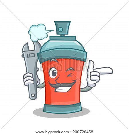 Mechanic aerosol spray can character cartoon vector illustration