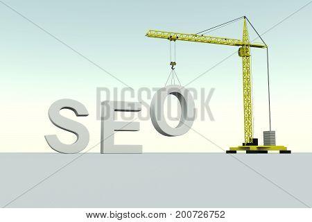 SEO building concept crane white background 3d illustration