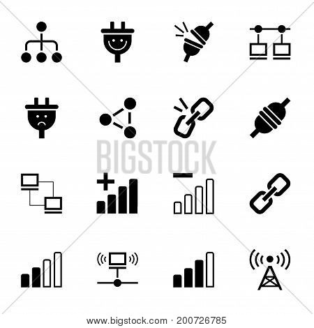 Connection, no connection, icon, monochrome, vector.  Communication and lack of communication. Black icons on white background.
