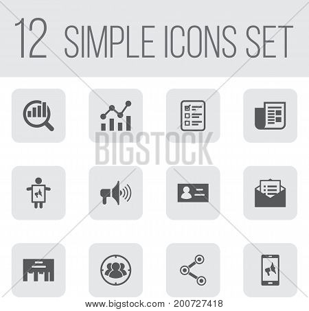 Collection Of Inbox, Bullhorn, Message And Other Elements.  Set Of 12 Advertising Icons Set.