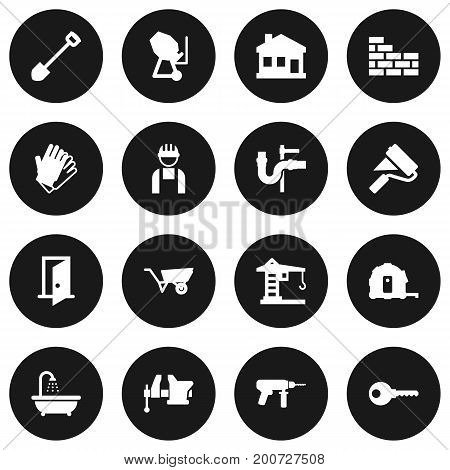 Collection Of Gauntlet, Cement Machine, Building Machinery And Other Elements.  Set Of 16 Construction Icons Set.