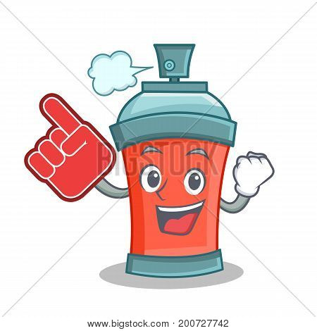 aerosol spray can character cartoon with foam finger vector art