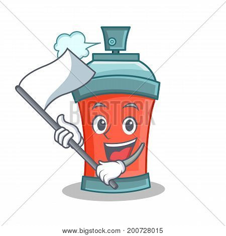aerosol spray can character cartoon with flag vector illustration