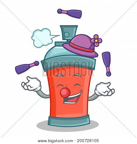 Juggling aerosol spray can character cartoon vector illustration